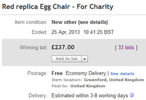 Base Auction ends - Egg Chair top bid is £237