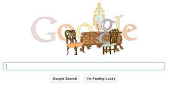 Furniture themed Google Doodle for Thomas Chippendale