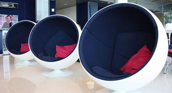 Classic Finnish furniture in Helsinki Airport Lounge